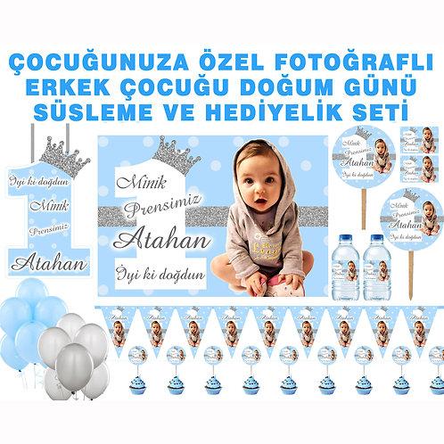 Simli Gümüş Mavi Doğum Günü Parti Seti