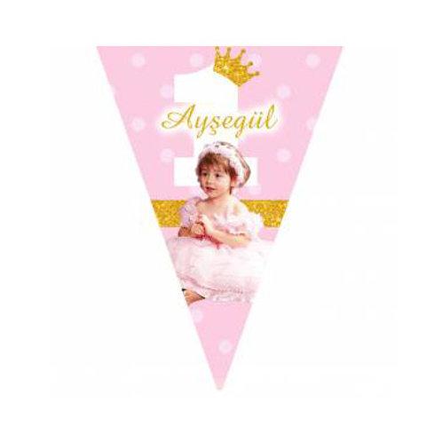 Prenses Simli Pembe Altın Kişiye Özel Flama