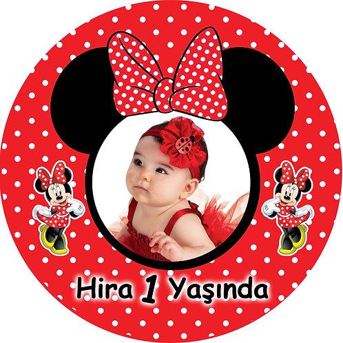 Kırmızı Minnie Kişiye Özel Yapışkanlı Sticker Etiket 8 cm