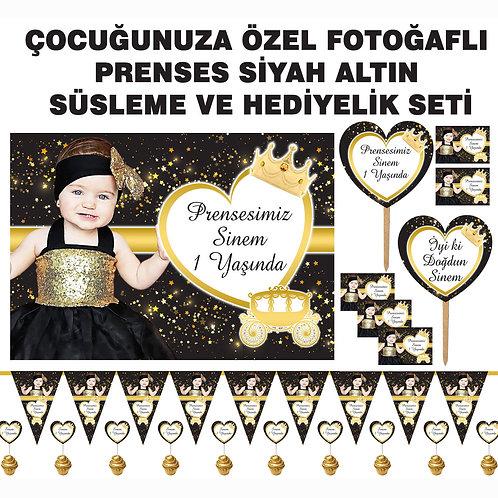 Simli Altın Siyah Prenses Doğum Günü Süsleme ve Hediyelik Seti
