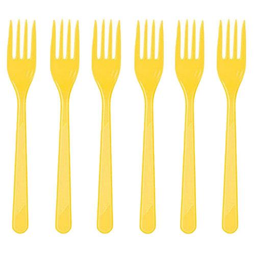 Sarı Plastik Çatal 25'li