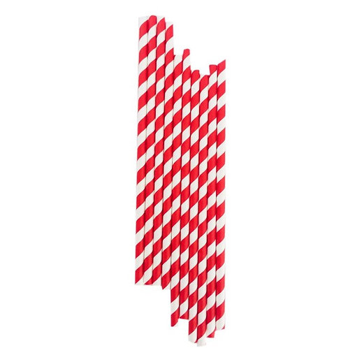 Kırmızı Çizgili Kağıt Pipet 20'li