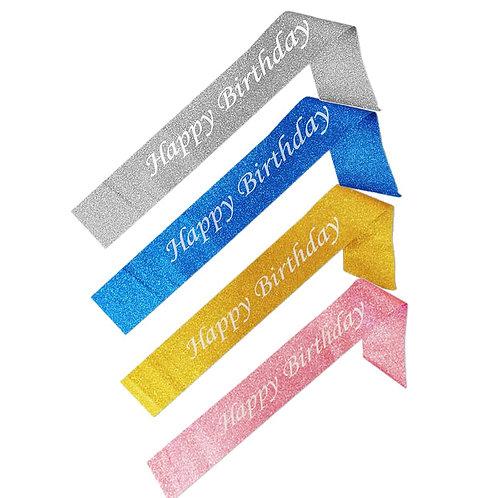 Simli Happy Birthday Kuşak 1 Adet (4 farklı renk)