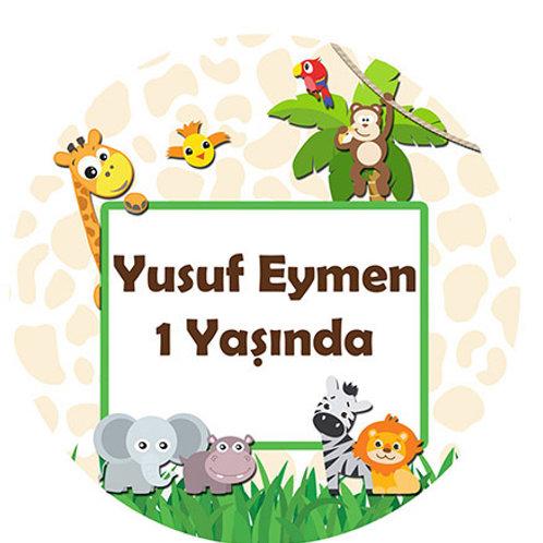 Safari Hayvanlar Kişiye Özel Yapışkanlı Sticker Etiket 6 cm