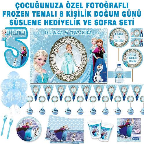 Frozen 8 Kişilik Doğum Günü Seti Magnet, Sargı ve Asma Süslü