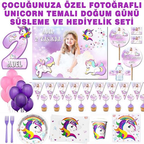 Unicorn Temalı 8 Kişilik Büyük Doğum Günü Parti Seti