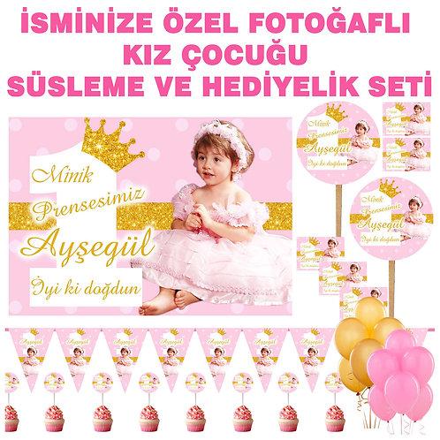Prenses Pembe Altın Simli Doğum Günü Süsleme ve Hediyelik Seti