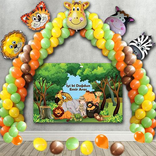 Safari Balon Zinciri Resim Çektirme Fonlu Doğum Günü Seti