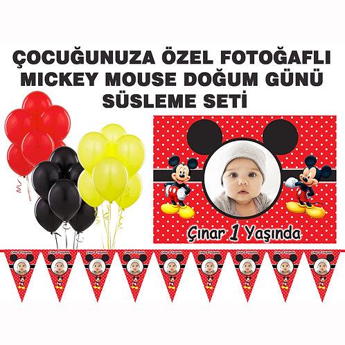Mickey Mouse Kırmızı Doğum Günü Süsleme Seti