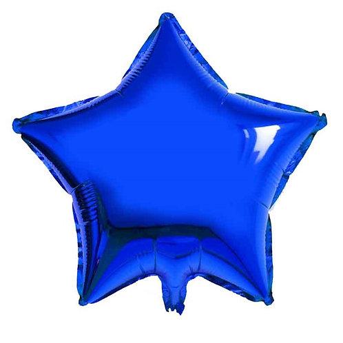 Mavi Metalik Yıldız Folyo  Balon 1 Adet