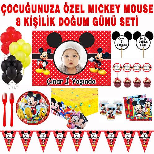 Mickey Mouse 8 Kişilik Doğum Günü Süsleme ve Hediyelik Seti