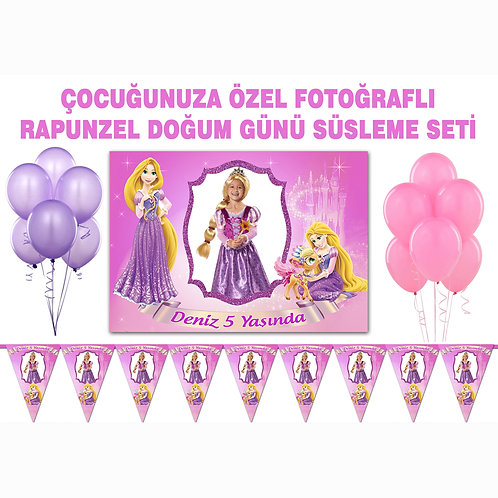 Rapunzel Doğum Günü Süsleme Seti