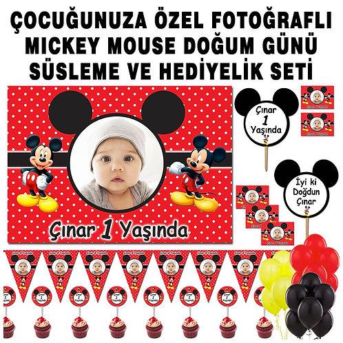 Mickey Mouse Kırmızı Balonlu Doğum Günü Süsleme ve Hediyelik Seti