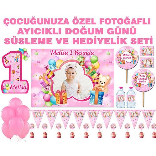 Pembe Balonlu Ayıcık Doğum Günü Parti Seti