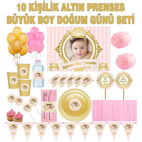 10 Kişilik Prenses Somon Altın Doğum günü Seti