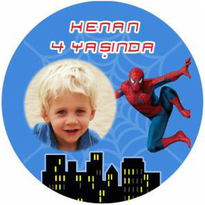 Örümcek Adam Spiderman Kişiye Özel Yapışkanlı Sticker Etiket 4 cm