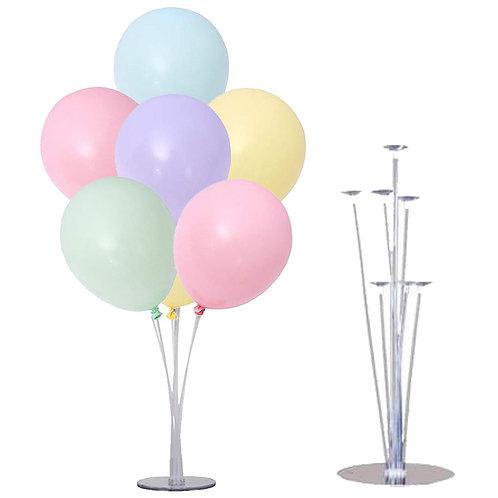 7 Adet Karışık Renk  Makaron Balon ve 7'li Masa Üstü Şeffaf Balon Standı