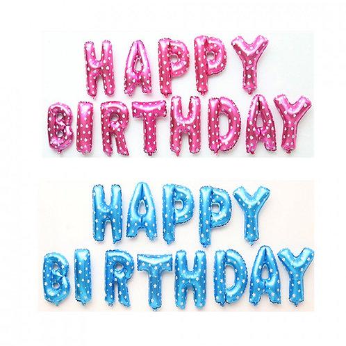 Pembe/Mavi Happy BirthDay Folyo Balon