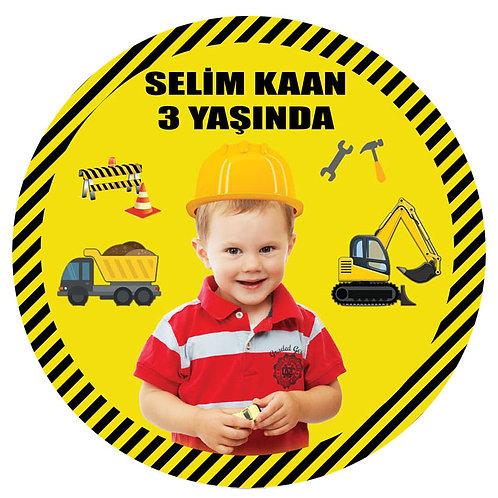 İnşaat Temalı Kişiye Özel Yapışkanlı Sticker Etiket 6 cm