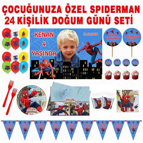 Spiderman 24 Kişilik Doğum Günü Seti
