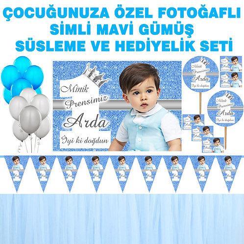 Simli Mavi Gümüş Doğum Günü Dekorasyon Süsleme ve Hediyelik Seti
