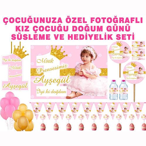Simli Altın Pembe Doğum Günü Parti Seti