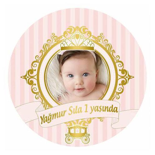 Prenses Somon Altın Kişiye Özel Yapışkanlı Sticker Etiket 8 cm