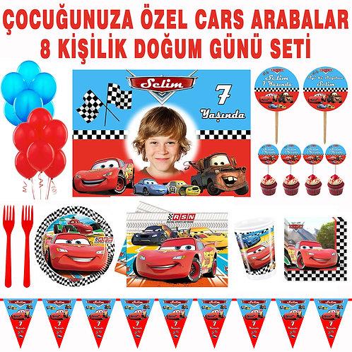 Şimşek Mcqueen Cars Arabalar 16 Kişilik Doğum Günü Seti