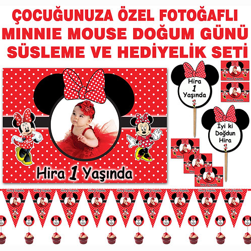 Minnie Mouse Kırmızı Doğum Günü Süsleme ve Hediyelik Seti