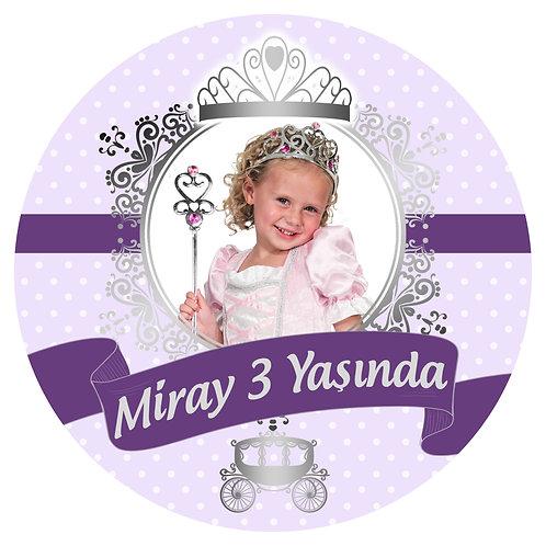 Prenses Mor Gümüş Kişiye Özel Yapışkanlı Sticker Etiket 6 cm