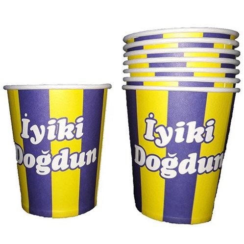 Sarı Lacivert Fenerbahçe Karton Bardak 8 Adet