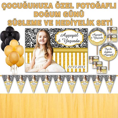 Simli Altın Siyah Doğum Günü Dekorasyon Süsleme ve Hediyelik Seti