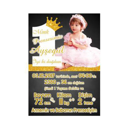 Prenses Simli Pembe Altın Temalı Kişiye Özel Anı Panosu