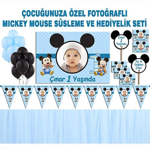 Mickey Mouse Mavi Doğum Günü Dekorasyon Süsleme ve Hediyelik Seti