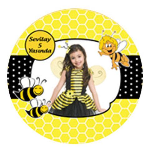Arı Maya Kişiye Özel Yapışkanlı Sticker Etiket 4 cm