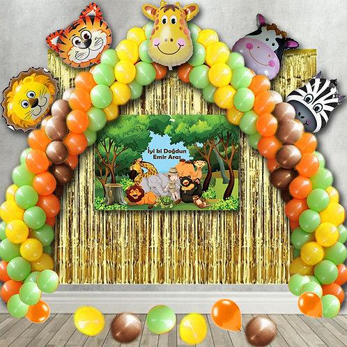 Safari Balon Zinciri Doğum Günü Seti