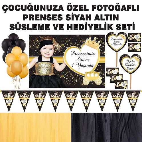 Simli Altın Siyah Prenses Doğum Günü Dekorasyon Süsleme ve Hediyelik Seti