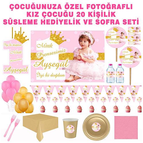 Prenses Simli Pembe Altın 20 Kişilik Sofra Set