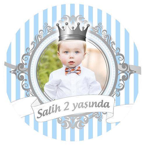 Mavi Gümüş Prens Kişiye Özel Yapışkanlı Sticker Etiket 4 cm