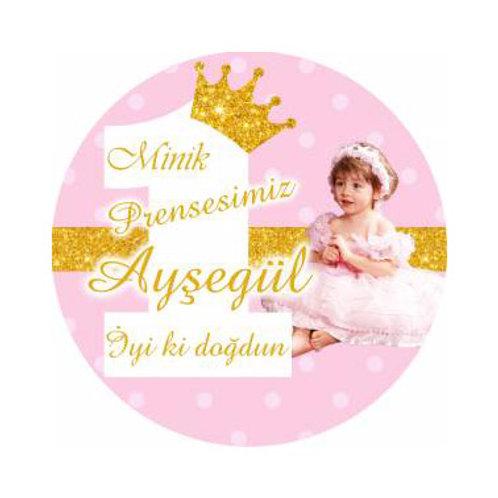 Prenses Simli Pembe Altın Kişiye Özel Yapışkanlı Sticker Etiket 5 cm