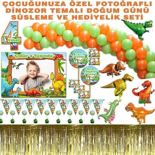 Dinazor Balon Zincirli Büyük Doğum Günü Seti