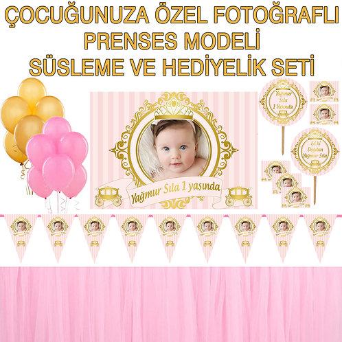 Prenses Altın Somon Doğum Günü Dekorasyon Süsleme ve Hediyelik Seti