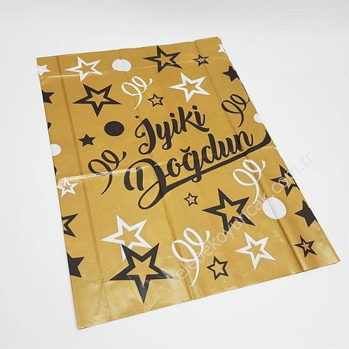 Siyah Altın İyi ki Doğdun Masa Örtüsü 120x180 cm