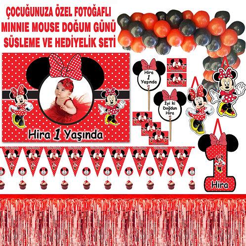 Kırmızı Minnie Balon Zincirli Doğum Günü Seti