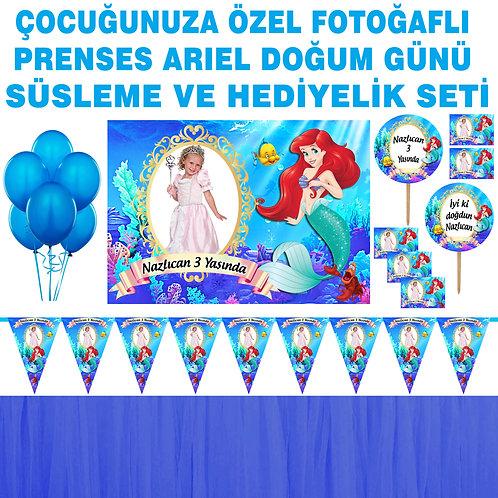 Prenses Ariel Doğum Günü Dekorasyon Süsleme ve Hediyelik Seti