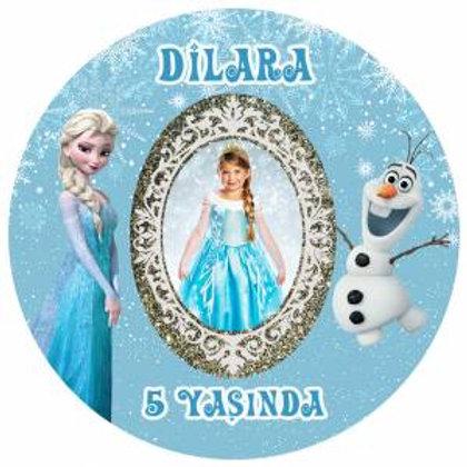 Karlar Ülkesi Elsa Frozen Kişiye Özel Yapışkanlı Sticker Etiket 4 cm