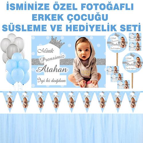 Simli Gümüş Mavi Doğum Günü Dekorasyon Süsleme ve Hediyelik Seti
