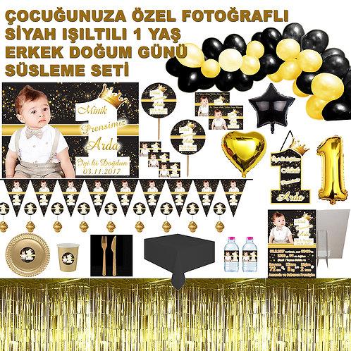 10 Kişilik Altın Siyah 1 Yaş Erkek Doğum Günü Organizasyon Seti