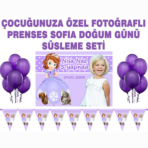 Prenses Sofia Sofya Doğum Günü Süsleme Seti