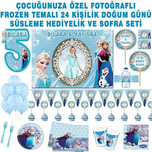 Frozen 24 Kişilik Doğum Günü Seti Magnet, Sargı ve Asma Süslü